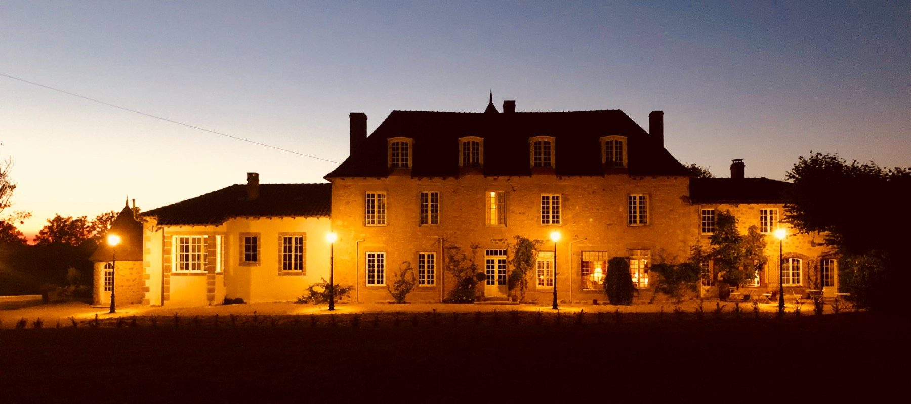 Back of Chateau at night